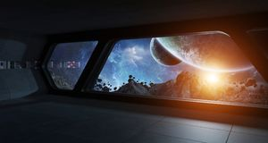 Spaceship futuristic interior with view on exoplanet. 3D rendering elements of this image furnished by NASA Stock Photos