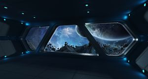Spaceship futuristic interior with view on exoplanet. 3D rendering elements of this image furnished by NASA Royalty Free Stock Image