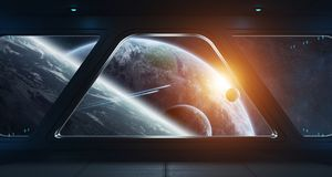 Spaceship futuristic interior with view on exoplanet. 3D rendering elements of this image furnished by NASA Royalty Free Stock Photography