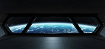 Spaceship futuristic interior with view on planet Earth. 3D rendering elements of this image furnished by NASA Stock Photography