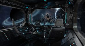 Spaceship grunge interior with view on exoplanet. 3D rendering elements of this image furnished by NASA Royalty Free Stock Photo