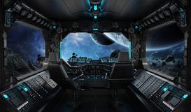 Spaceship grunge interior with view on exoplanet. 3D rendering elements of this image furnished by NASA Stock Images