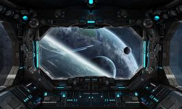 Spaceship grunge interior with view on exoplanet. 3D rendering elements of this image furnished by NASA Royalty Free Stock Photography