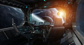 Spaceship grunge interior with view on exoplanet. 3D rendering elements of this image furnished by NASA Royalty Free Stock Image