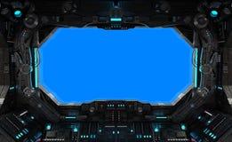 Spaceship grunge interior window isolated. Spaceship grunge interior with view on a isolated blue window vector illustration