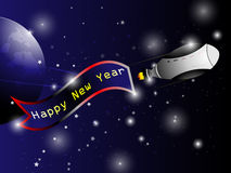 Spaceship Happy new year background. EPS 10 Vector Royalty Free Stock Images