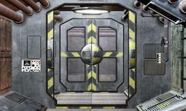 Spaceship hatch and corridor background. 3D render Stock Photos