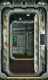 Spaceship hatch and corridor background Stock Image
