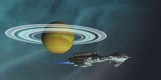 Space Frigate Freighter. A spaceship hauls freight from an outpost colony on one of Saturn`s moons in the future of space travel Royalty Free Stock Photos
