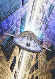 Spaceship and hyperspace Stock Image