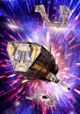 Spaceship and hyperspace royalty free illustration