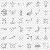 Spaceship icons set, outline style. Spaceship icons set. Outline style of 36 spaceship vector icons for web for any design royalty free illustration