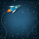 Spaceship illustration with space for your text. In cartoon style Royalty Free Stock Image