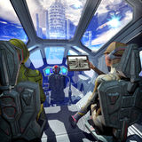 Spaceship interior and alien planet. In 3D Stock Images