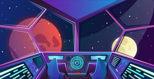 Spaceship interior of captains bridge with armchairs in purple colours . Futuristic command post. Vector illustration with radar,. Screen, hologram, moon, mars vector illustration