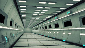 Spaceship interior, center view with floor Royalty Free Stock Photo
