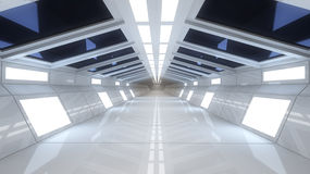 Spaceship interior, center view with floor Royalty Free Stock Photos