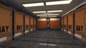 Spaceship interior corridor. 3d render Futuristic hall architecture Stock Images