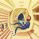 Spaceship Interior Illustration. Spaceship interior with weightlessness and work in space symbols cartoon vector illustration Stock Photo