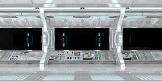 Spaceship interior with view on black window 3D rendering Royalty Free Stock Image