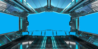 Spaceship interior with view on blue windows 3D rendering Royalty Free Stock Photos