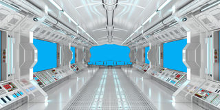 Spaceship interior with view on blue windows 3D rendering. Elements of this image furnished by NASA Stock Image