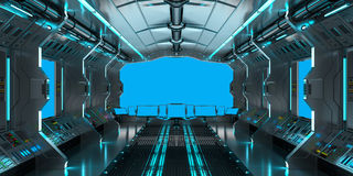 Spaceship interior with view on blue windows 3D rendering Stock Photos
