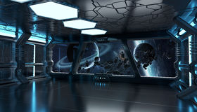 Spaceship interior with view on distant planets system 3D render Royalty Free Stock Photography