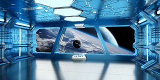 Spaceship interior with view on distant planets system 3D render Royalty Free Stock Image