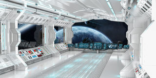 Spaceship interior with view on distant planets system 3D render Stock Photos