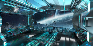 Spaceship interior with view on distant planets system 3D render Stock Photo