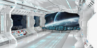 Spaceship interior with view on distant planets system 3D render Stock Image