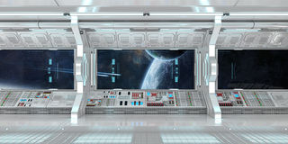 Spaceship interior with view on distant planets system 3D render Stock Photography