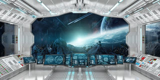 Spaceship interior with view on distant planets system 3D render Royalty Free Stock Photos