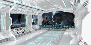 Spaceship interior with view on distant planets system 3D render Royalty Free Stock Images