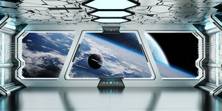 Spaceship interior with view on distant planets system 3D render Royalty Free Stock Photo