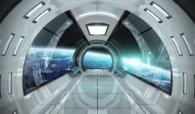 Spaceship interior with view on Earth 3D rendering elements of t. Spaceship bright interior with view on planet Earth 3D rendering elements of this image Royalty Free Stock Images