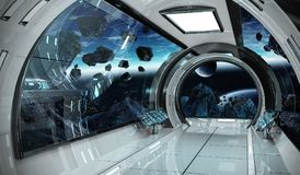 Spaceship interior with view on Earth 3D rendering elements of t Stock Photography