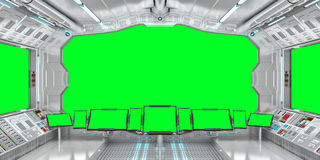 Spaceship interior with view on green windows 3D rendering Stock Images