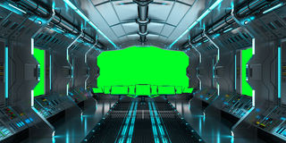 Spaceship interior with view on green windows 3D rendering Stock Photos