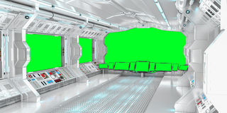 Spaceship interior with view on green windows 3D rendering Stock Image