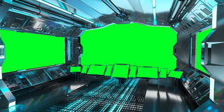 Spaceship interior with view on green windows 3D rendering Royalty Free Stock Photo