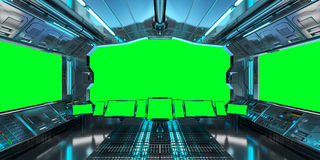 Spaceship interior with view on green windows 3D rendering Royalty Free Stock Photography