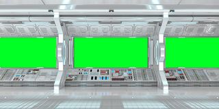 Spaceship interior with view on green windows 3D rendering Royalty Free Stock Images