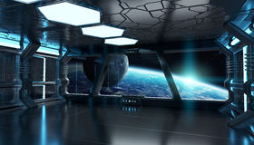 Spaceship interior with view on the planet Earth 3D rendering el. Spaceship blue interior with view on space and planet Earth 3D rendering elements of this image Royalty Free Stock Images