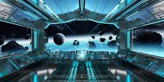 Spaceship interior with view on the planet Earth 3D rendering el. Spaceship interior with view on space and planet Earth 3D rendering elements of this image Stock Photo
