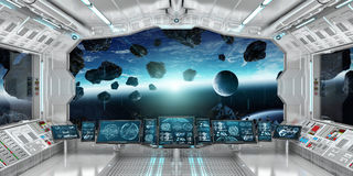 Spaceship interior with view on the planet Earth 3D rendering el. Spaceship interior with view on space and planet Earth 3D rendering elements of this image Royalty Free Stock Photo