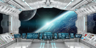 Spaceship interior with view on the planet Earth 3D rendering el. Spaceship interior with view on space and planet Earth 3D rendering elements of this image Royalty Free Stock Images