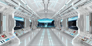 Spaceship interior with view on the planet Earth 3D rendering el. Spaceship interior with view on space and planet Earth 3D rendering elements of this image Stock Photos