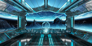 Spaceship interior with view on the planet Earth 3D rendering el. Spaceship interior with view on space and planet Earth 3D rendering elements of this image Stock Image